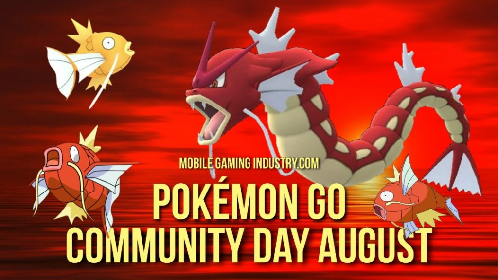 Pokemon GO Community Day. Pokemon GO August Community Day, Pokemon GO Shiny Magikarp, Pokemon GO Shiny Gyarados, Pokemon GO Gyarados Aqua Tail, Pokemon GO Community Day 2020