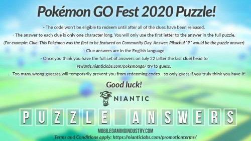 Pokemon go fest 2020, Pokemon go puzzle answers, Pokemon go fest 2020 puzzle answers, Pokemon go fest all puzzle answers, how to redeem Pokemon go puzzle code, Pokemon go fest 2020 puzzle clue answers