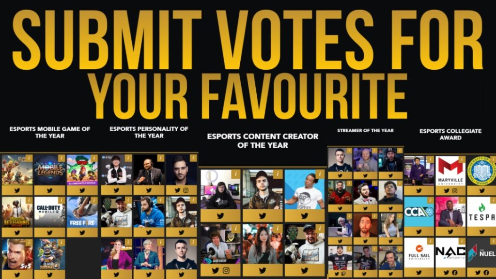 Esports Awards 2020, Vote for your Favorite Game, Esports Mobile Game of the Year, Streamer of the Year, Esports Content Creator of the Year, Esports Personality of the Year, Esports Collegiate Award